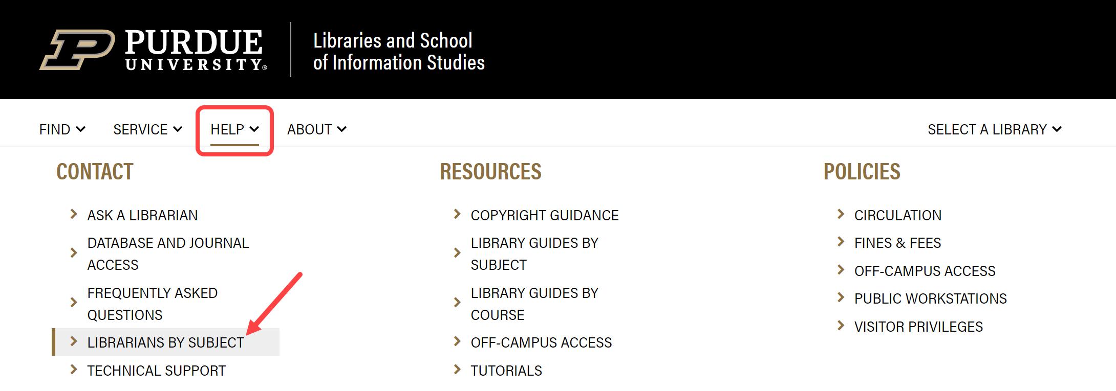 screen shot of help menu