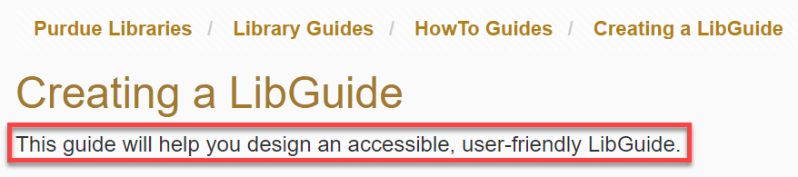 location of guide description under guide title