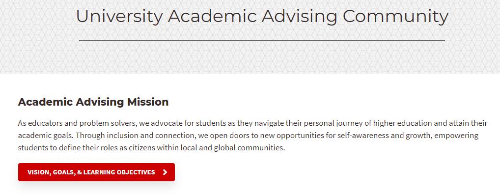 Link to University Academic Advising Community