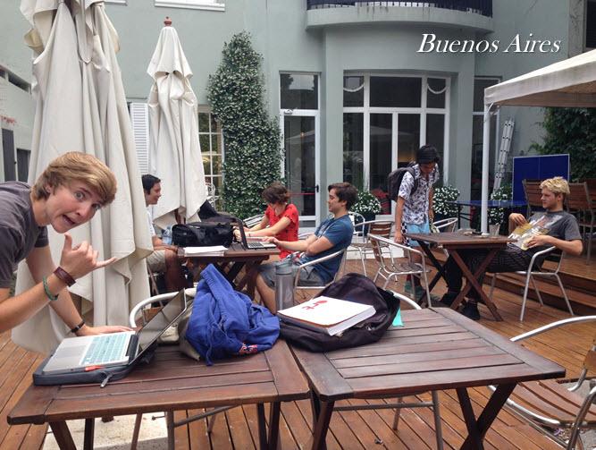 BA Students studying outside