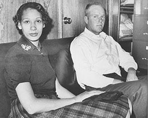 loving interracial couple