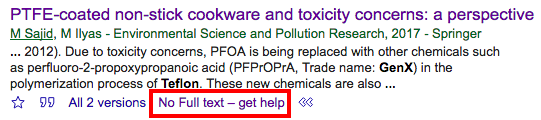 Google Scholar result with No Full text -- get help highlighted.