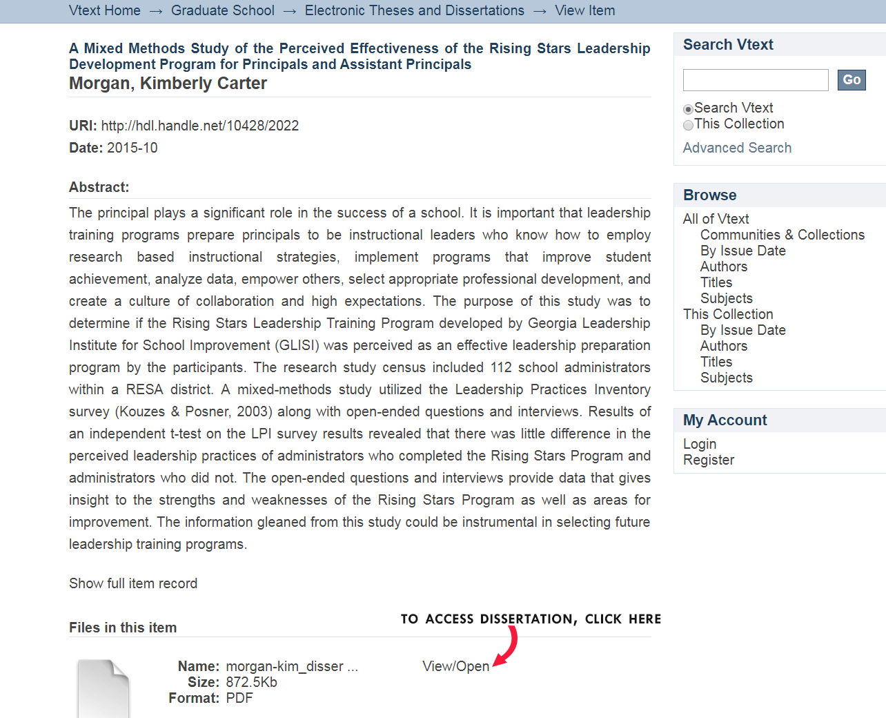 """A screenshot of a dissertation found in VText. Towards the bottom, there is an icon of a dog-eared piece of paper. An arrow with """"To access dissertation, click here"""" points to View/Open"""