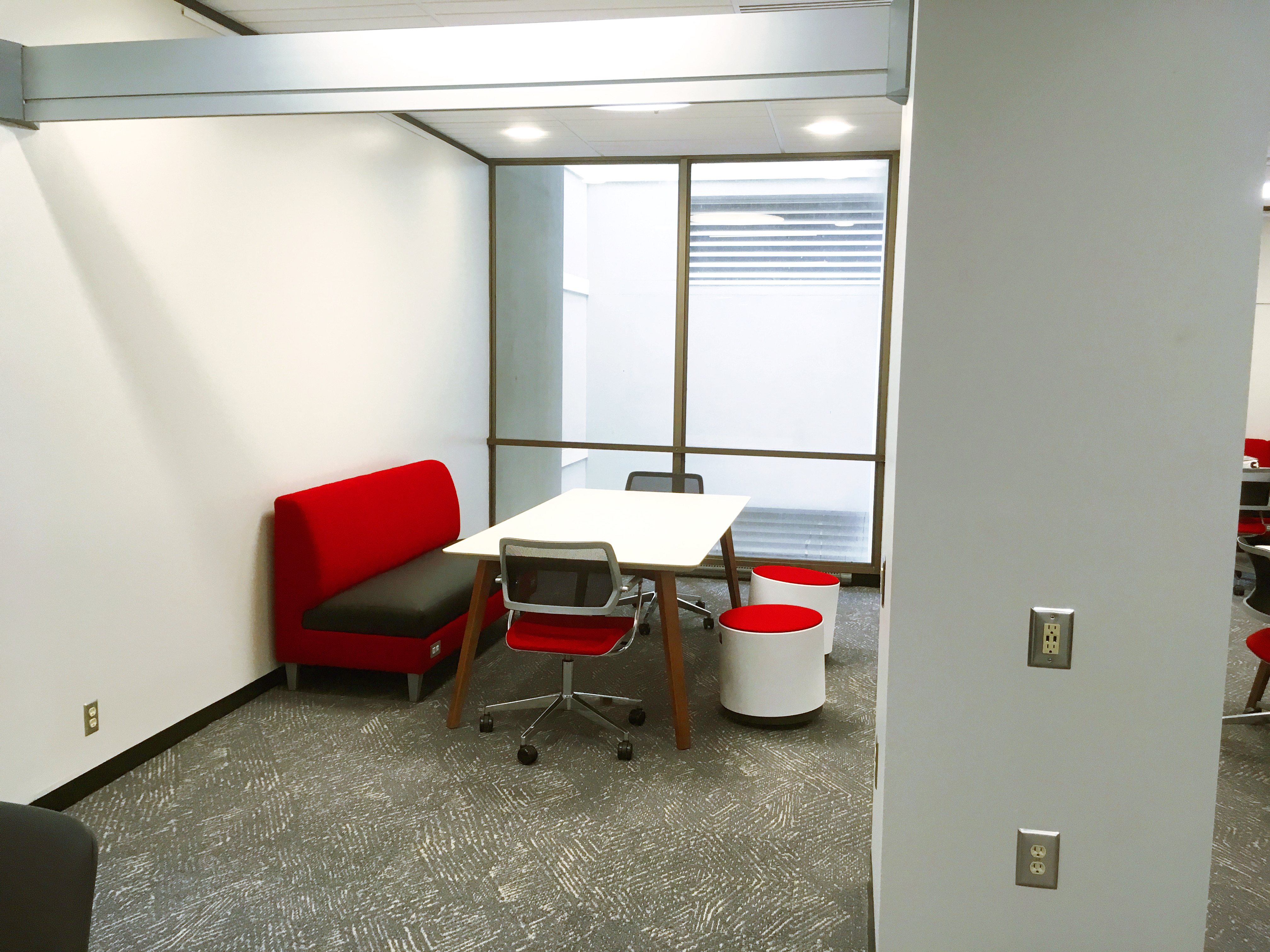 Study space on second floor in Learning Commons