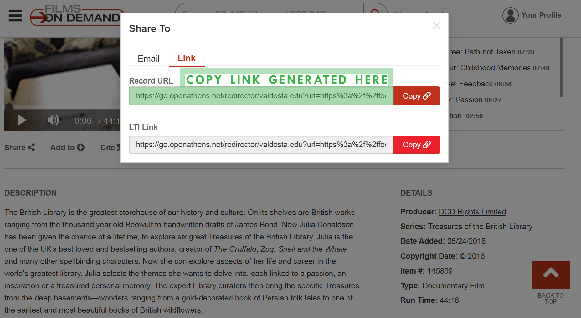 Copy link generated in the Share window