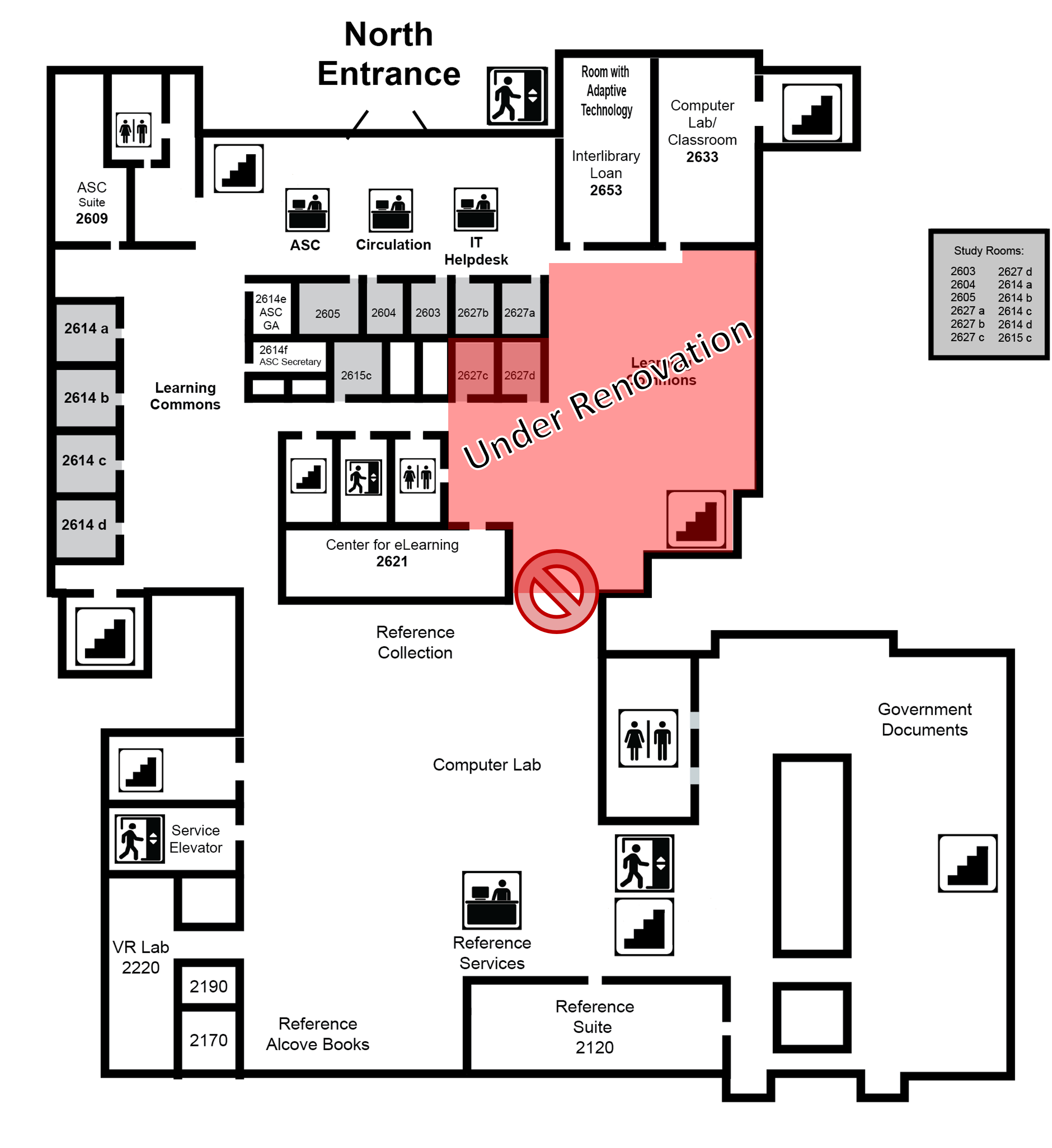 Map of the Second Floor of Odum Library with renovations marked on the east side of the library.