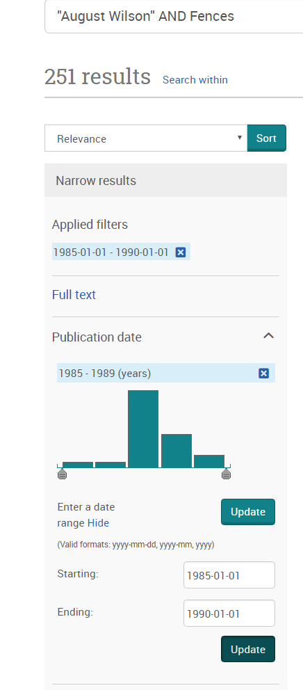 """Search result for """"August Wilson"""" AND Fences in ProQuest Historical Newspapers."""