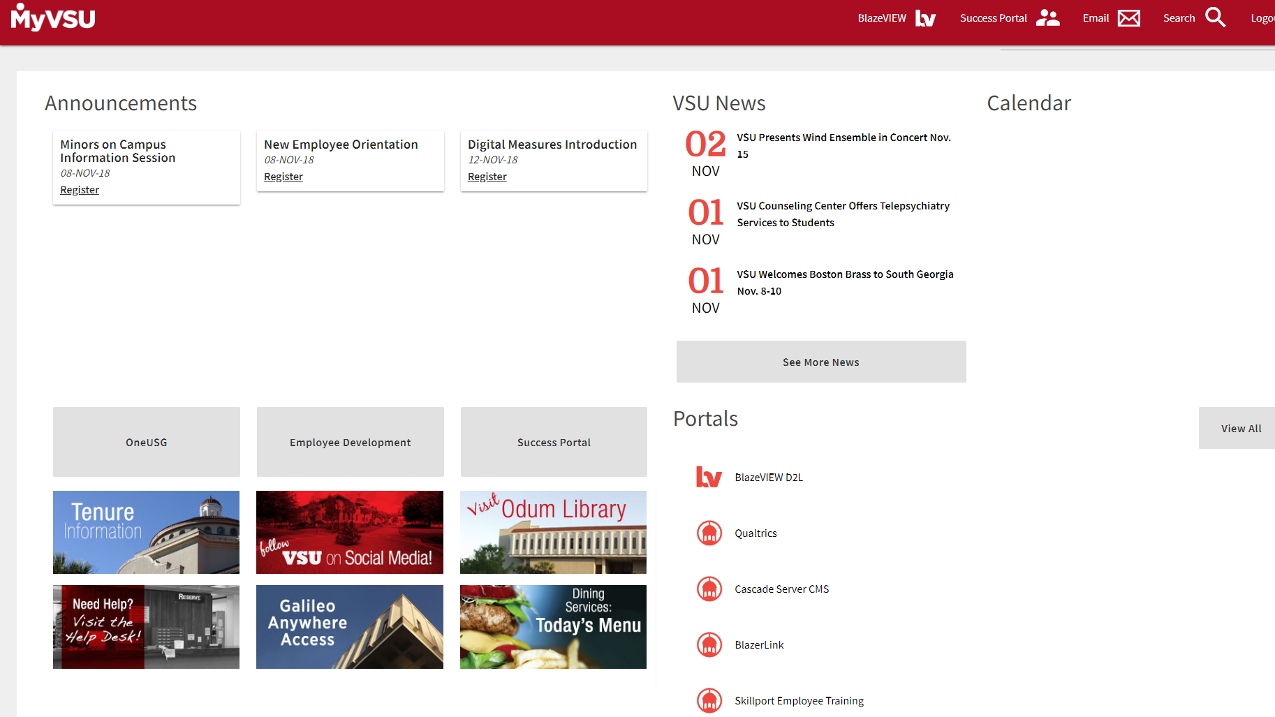 MyVSU home page showing GALILEO Anywhere Access and Visit Odum Library on the left side of the page