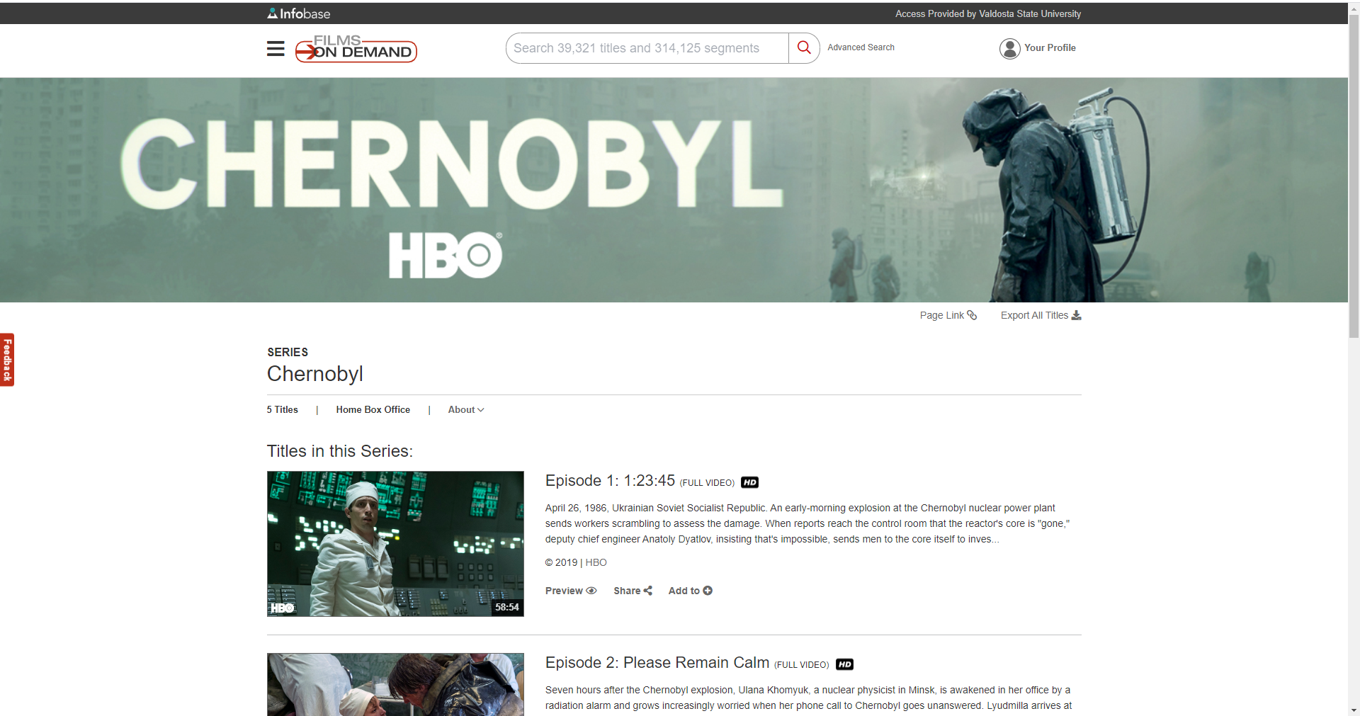 Sample of offerings from Films on Demand like HBO's Chernobyl