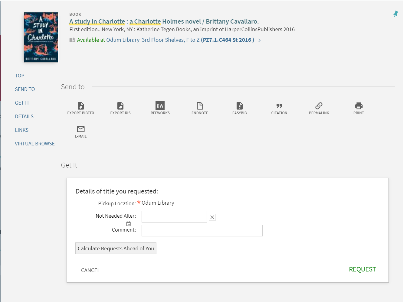 Request Options form once you select Request button under Get It