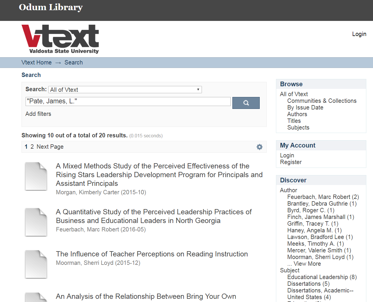 """Search results of """"Pate, James, L."""" in VText Repository"""
