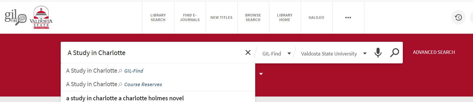 Search for A Study in Charlotte in library catalog simple search