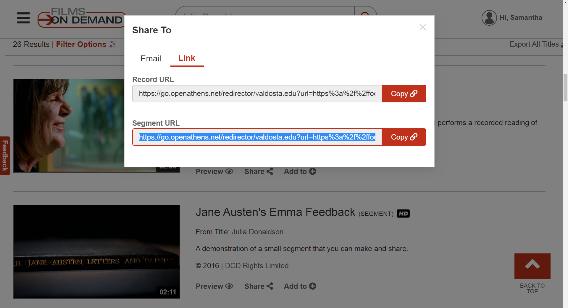 In the Share To pop up menu select the link tab and copy the Segment URL