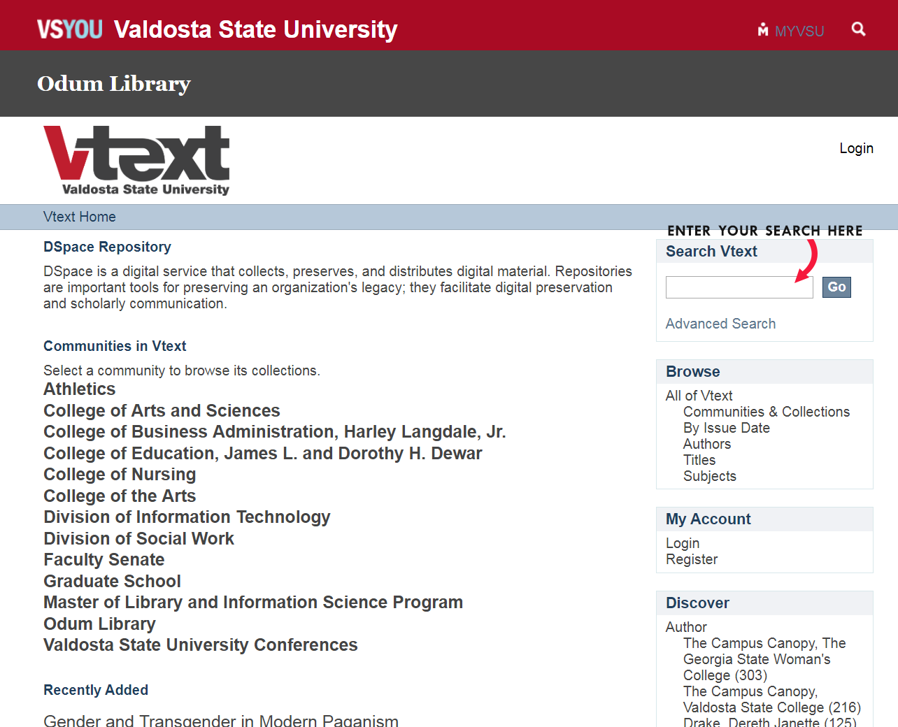 """VText Digital Repository main screen. Red arrow pointing to search box with the words """"Enter your search here"""""""