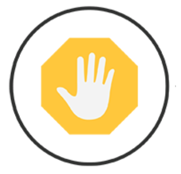 Stop: image of hand extended with fingers pointed upward