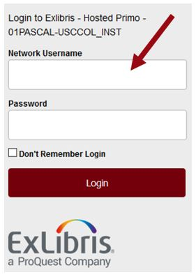 Enter your UofSC network username and password.