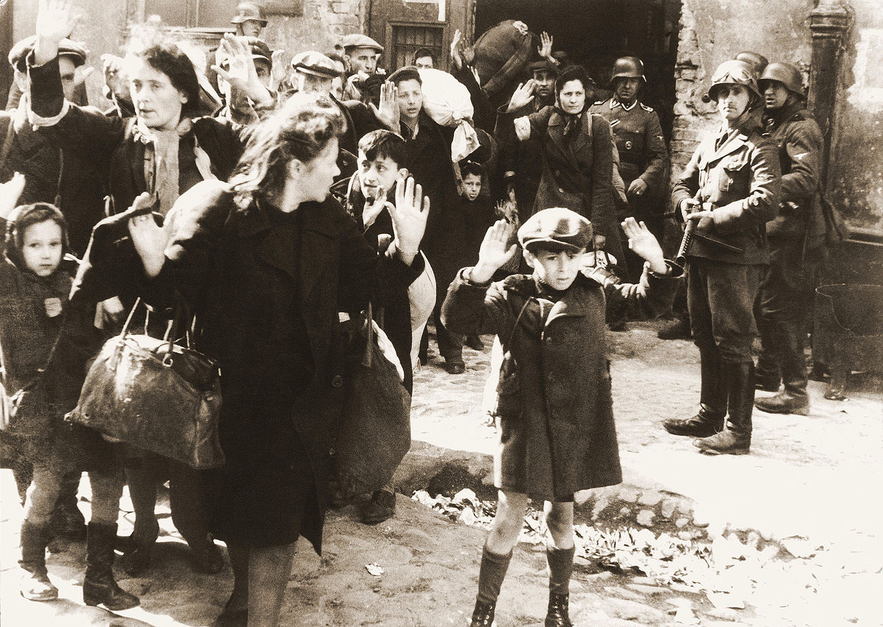 Holocaust Image of People Being Held at Gunpoint