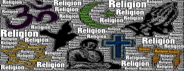 Image of Religious Symbols with the word 'Religion' featured artistically
