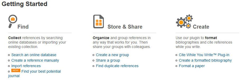 Screenshot of list of guides available on Endnote.  Links include: Search an online database, Create a reference manually, Import references, Find your best potential journal, Create a new group, Share a group, Find duplicate references, Cite While You Write™ Plug-In, Create a formatted bibliography, Format a paper.