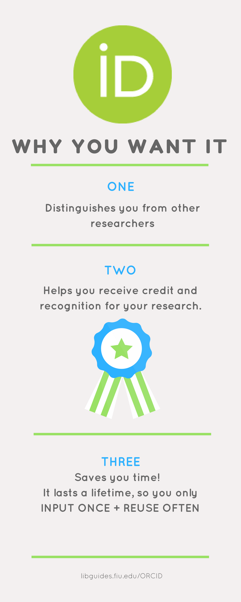 Why you want it.  It distinguishes you from other researchers.  It helps you recieve credit and recognition for your researcher.  It saves you time and lasts a lifetime.  You only input once and reuse it often.