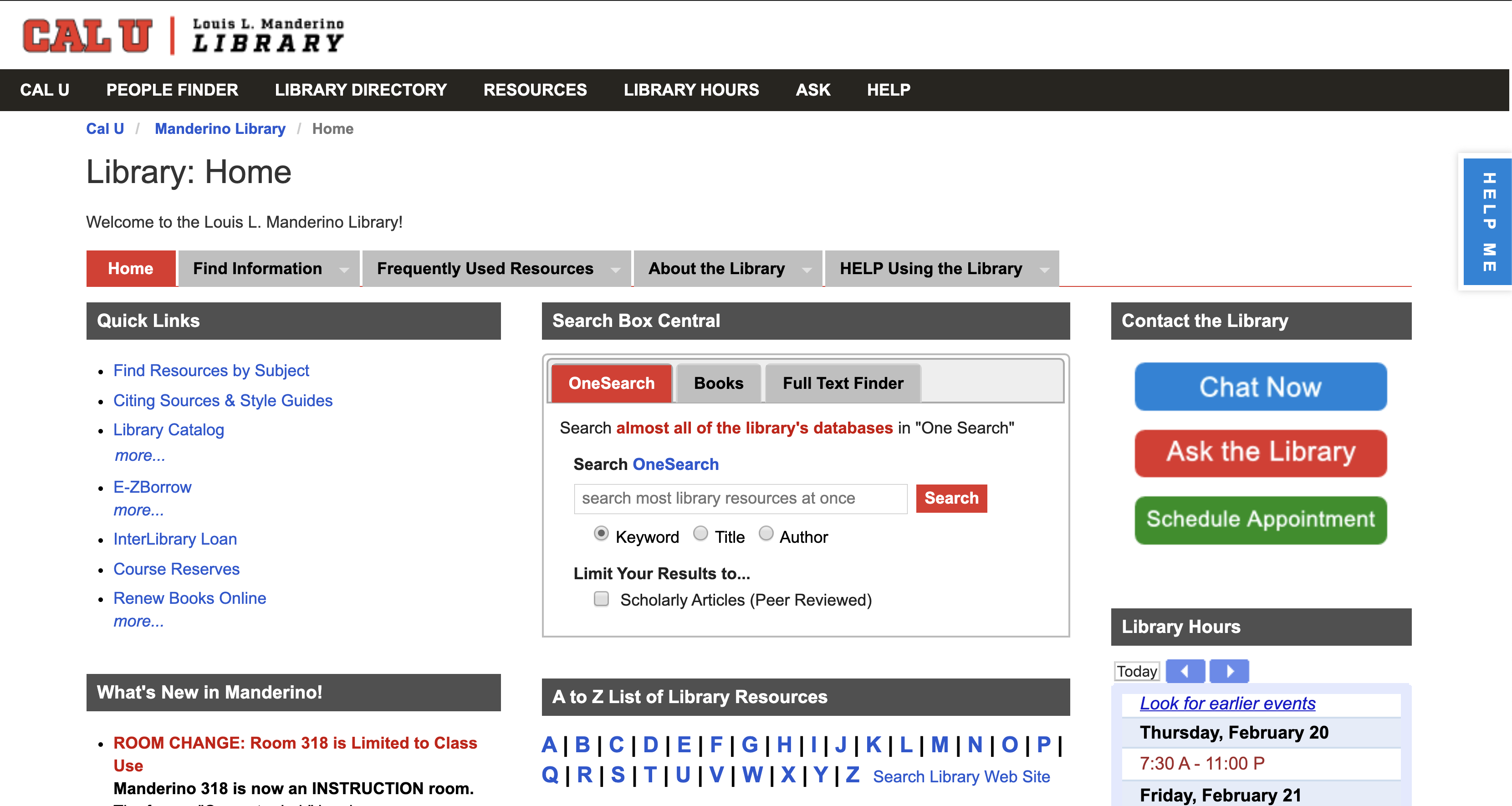 California University of Pennsylvania Library Homepage