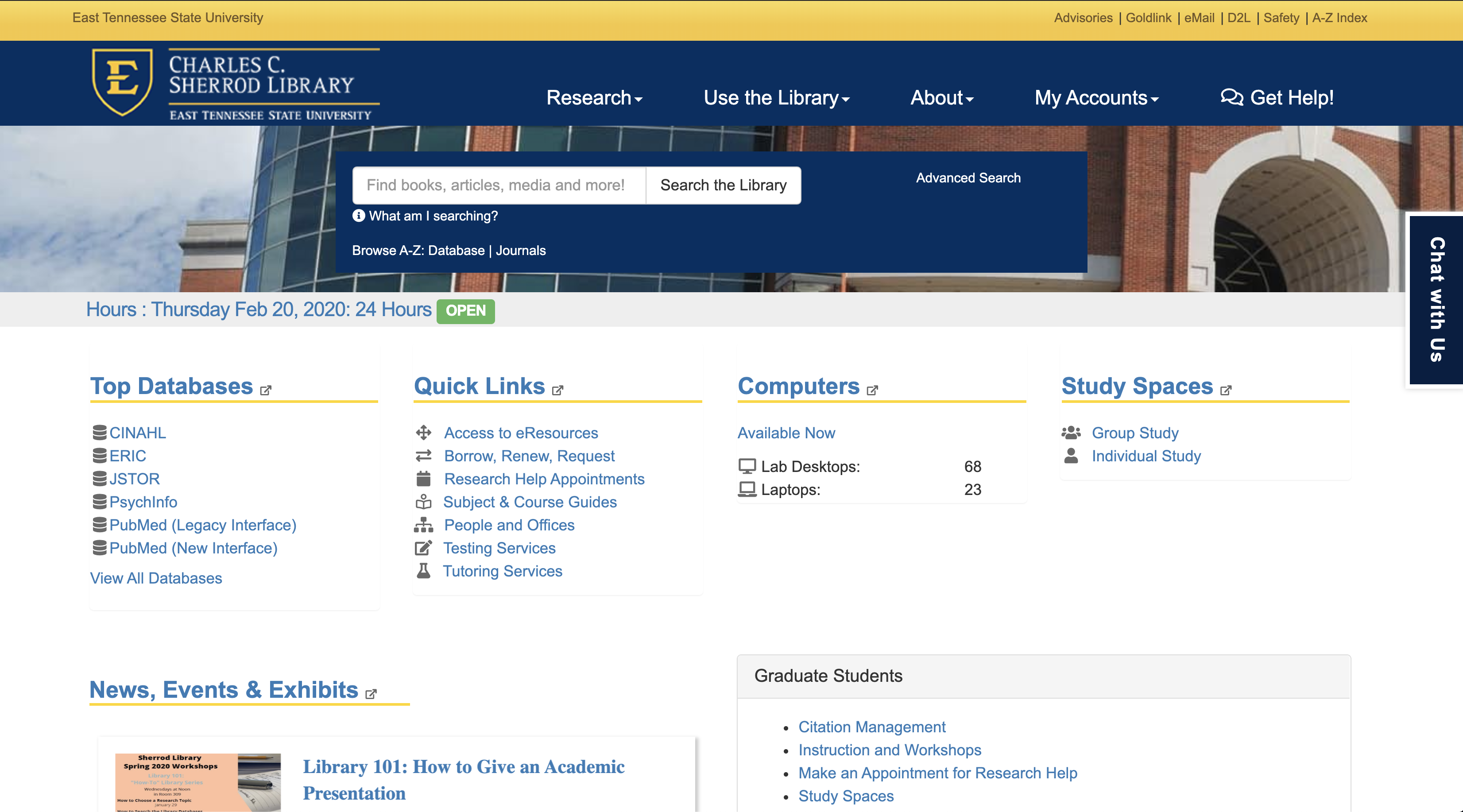 ETSU Library Website