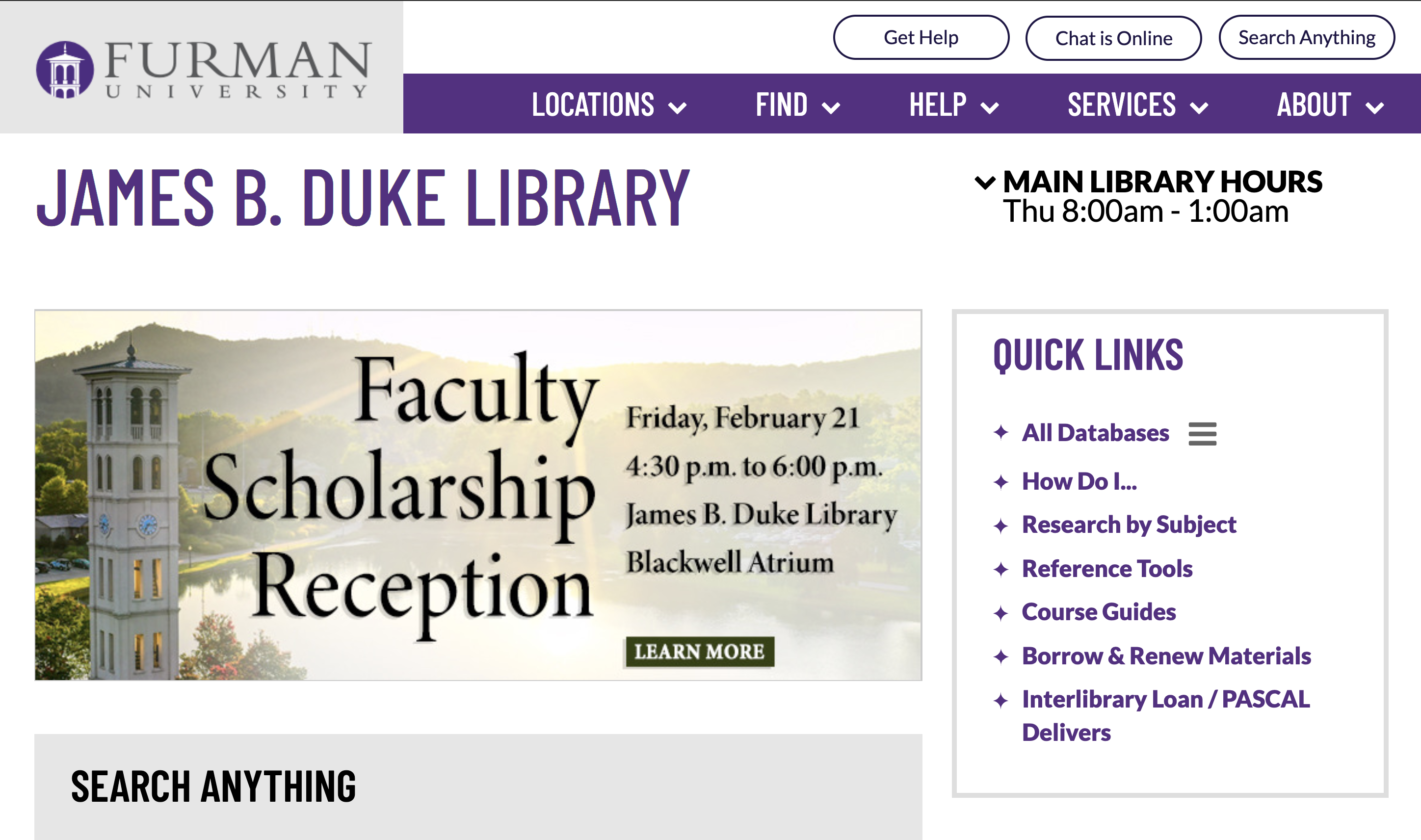 Furman University Library Homepage