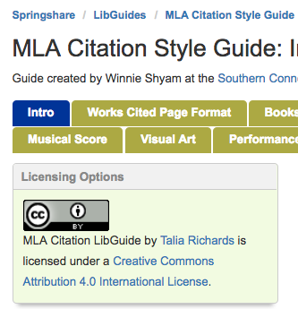 Creative Commons Applied to a LibGuide