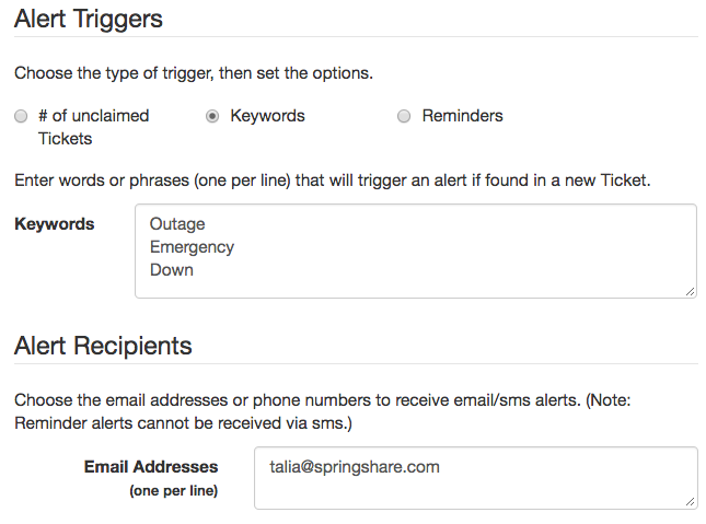 libanswers email and sms triggers
