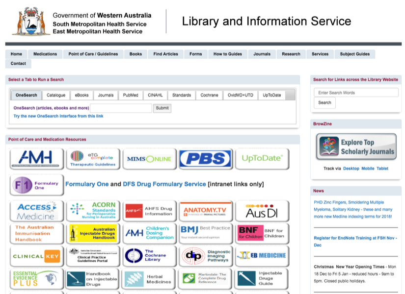 South Metropolitan Health Service Library Homepage