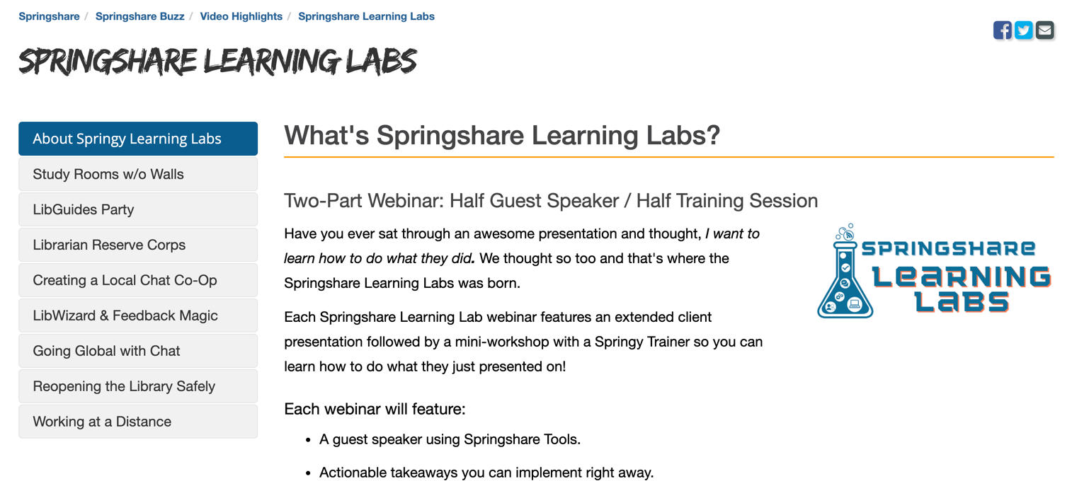 Springshare Learning Lab - explore past presentations!
