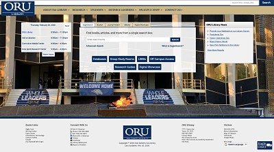 Oral Roberts University Library Homepage