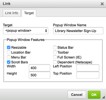 Adding a Pop-Up Window To Your LibGuides