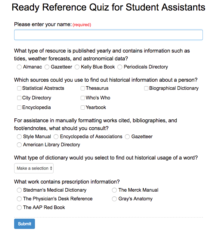 ready reference libwizard quiz