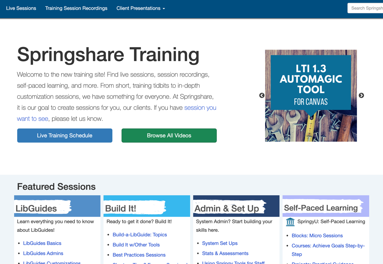 Springshare Training website