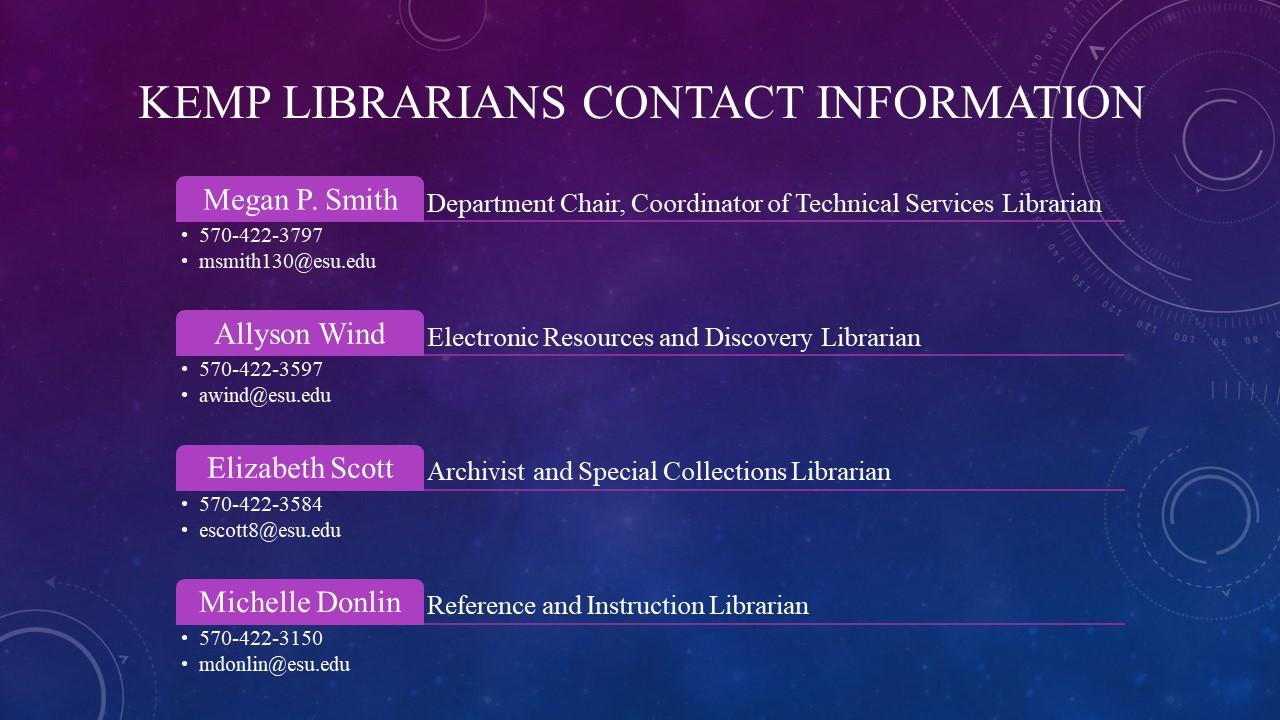 Image of contact information email klibrary@esu.edu