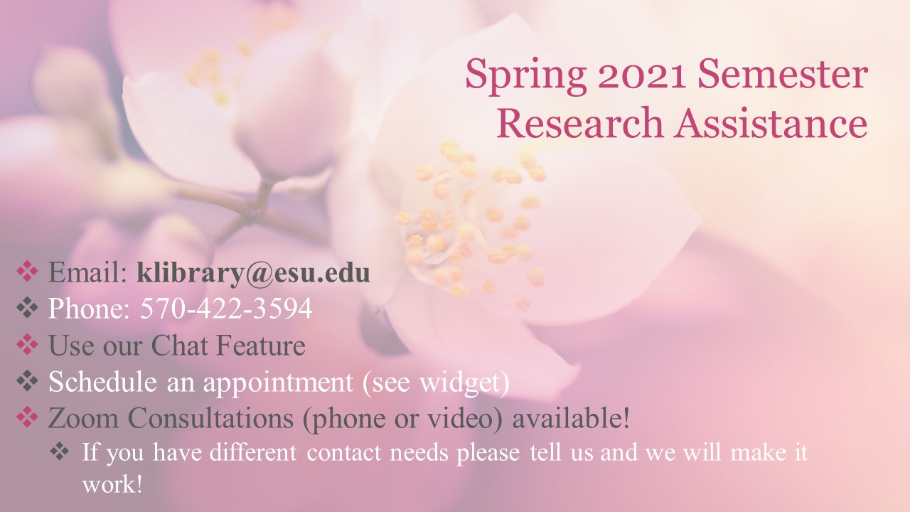 Contact the Librarians at klibrary@esu.edu