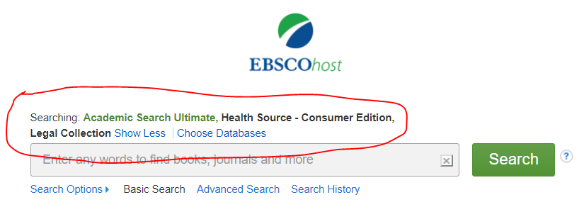 Screenshot of EBSCO selected databases