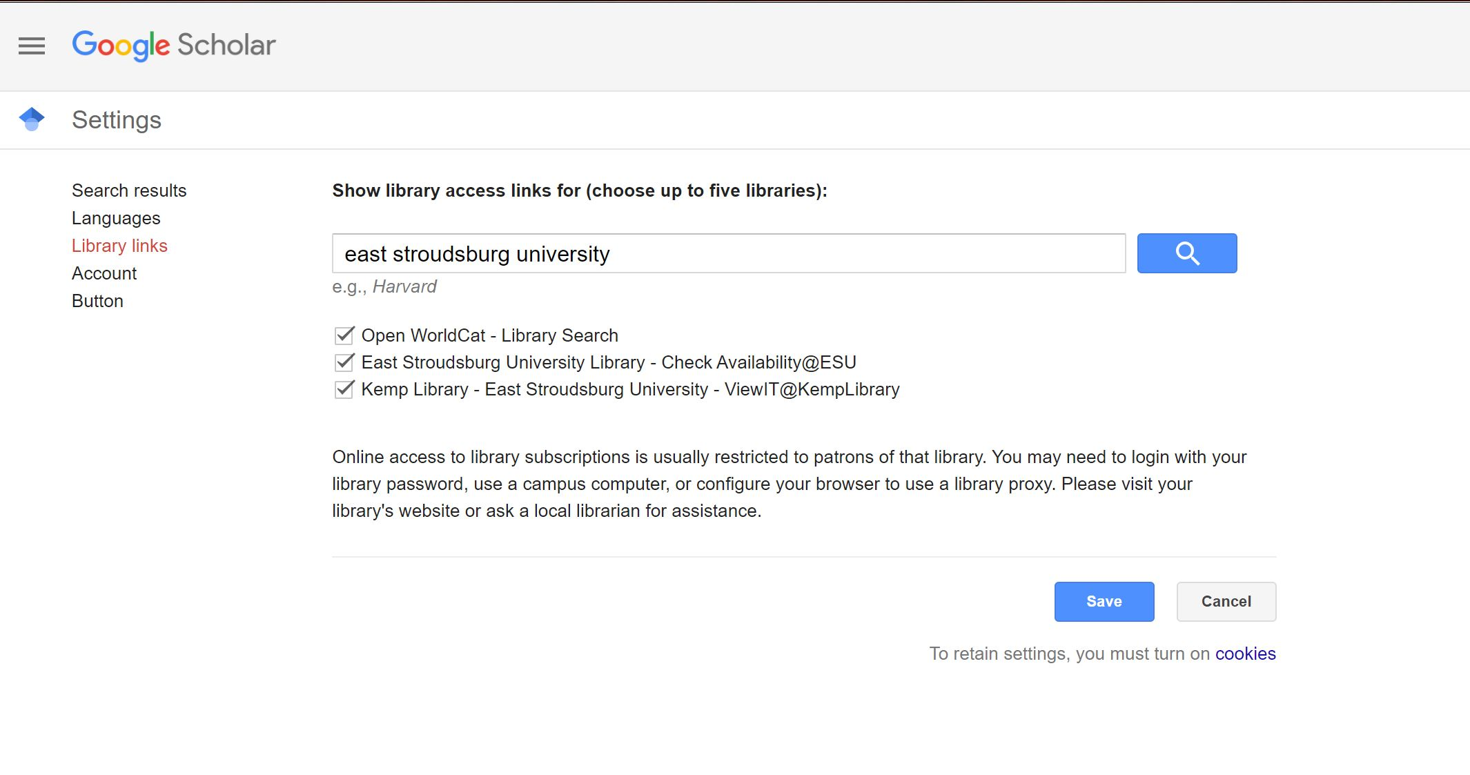 select all boxes for ESU library links in Google Scholar