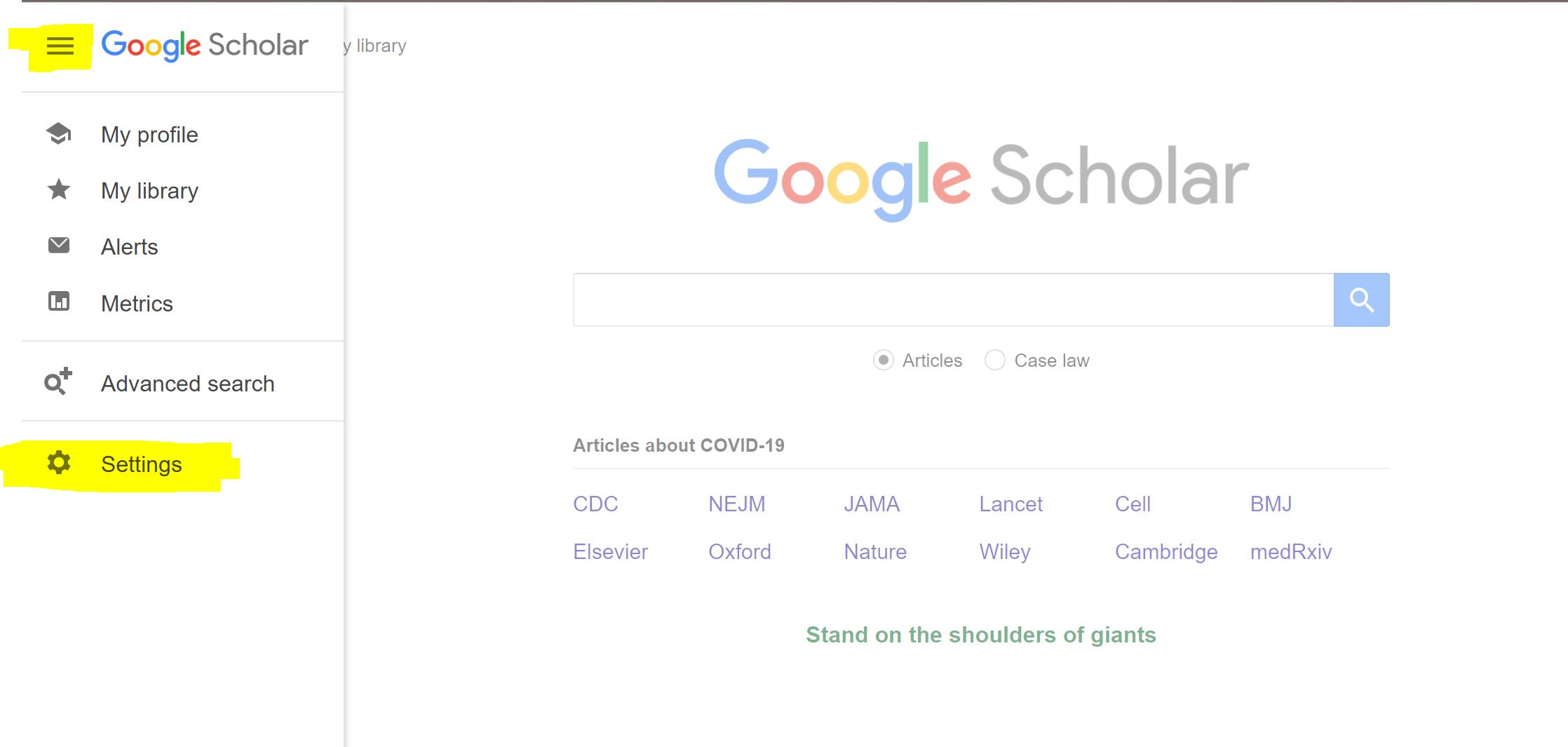 screenshot of Google Scholar settings menu