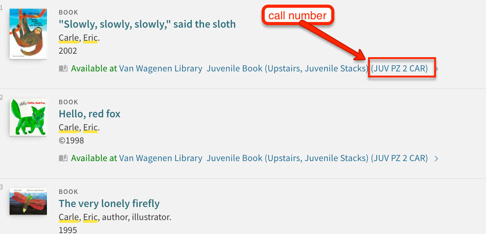 call numbers for books in the children's collection begin with the letters J U V