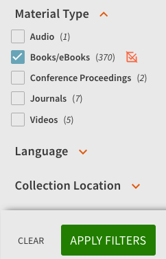 choose Books/eBooks in Material type panel