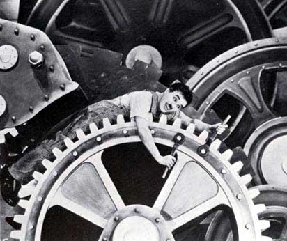 movie still of Charlie Chaplin in Modern Times