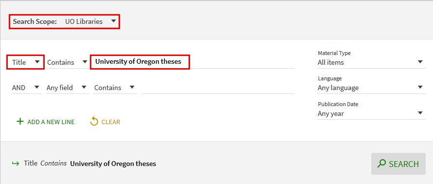 Screenshot of Advanced Search for UO theses