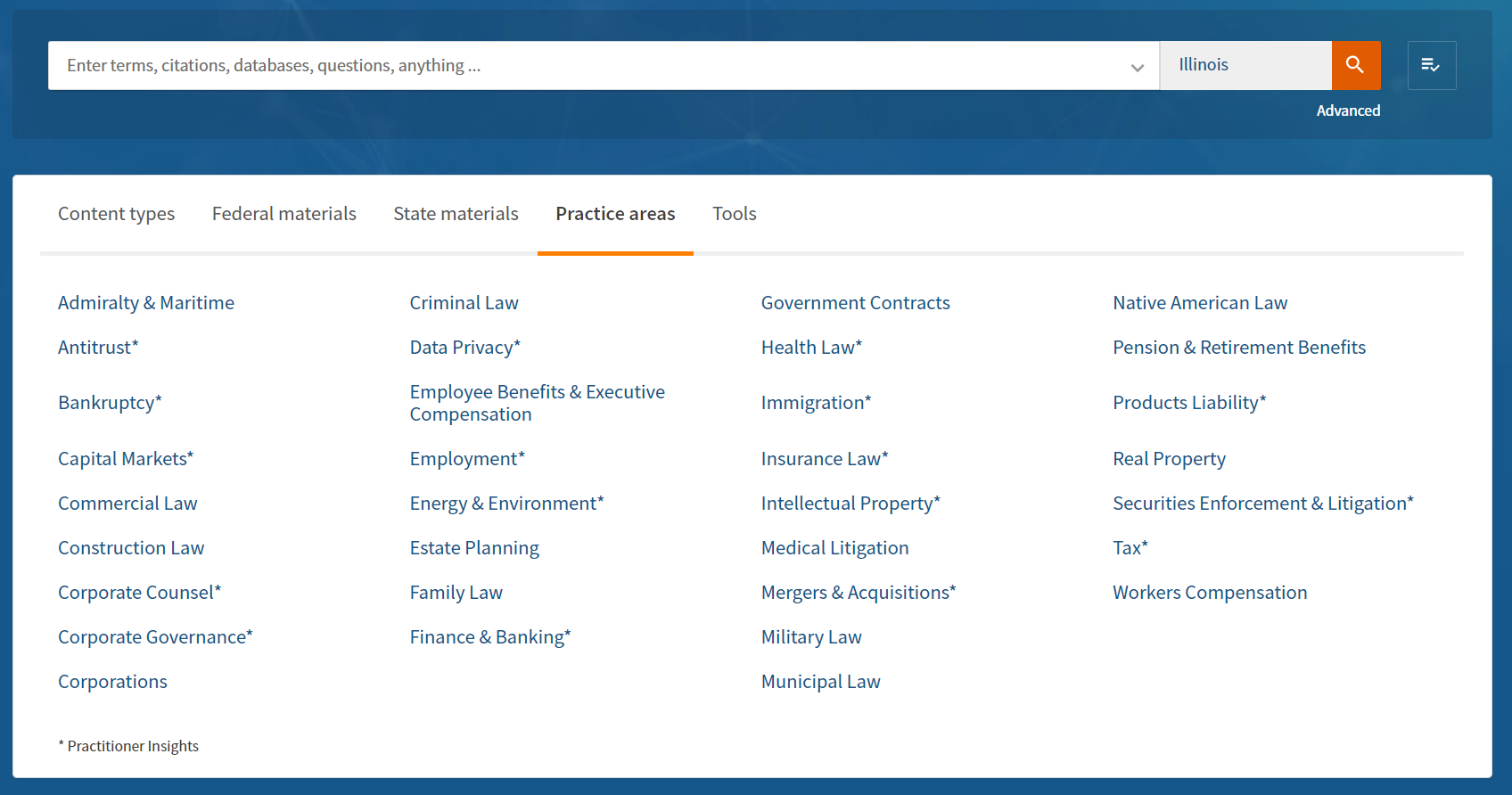 Westlaw Edge Practice Area Menu listing Admiratly to Workers Compensation