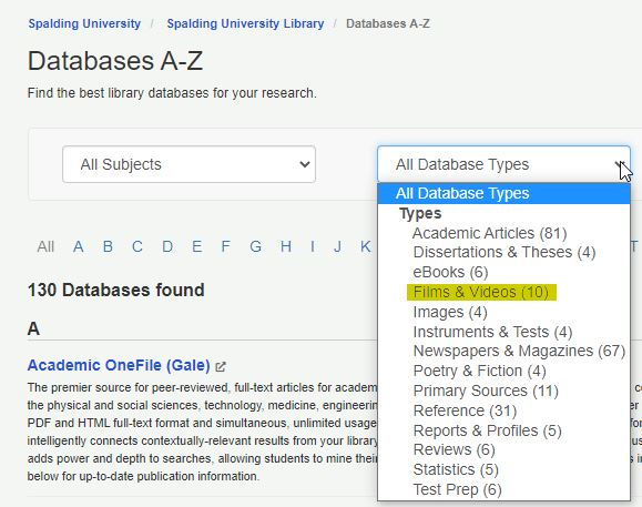 Screenshot of Database A to Z database type menu