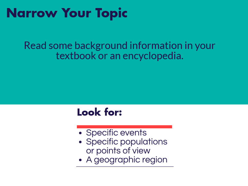 Read some background info in your textbook or an encyclopedia. Look for specific events, populations, points of view or a geographic region.