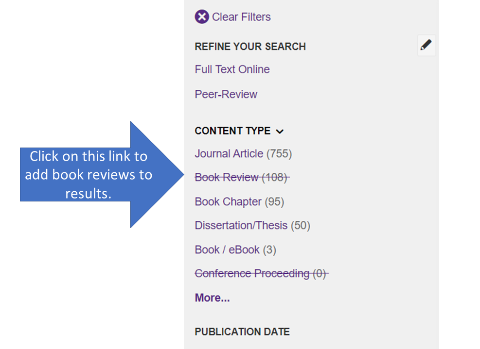 Click on Book Review to Add Reviews to Results List