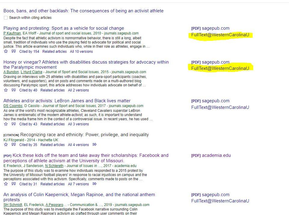Google Scholar Screen Shot. Use Find Full Text.