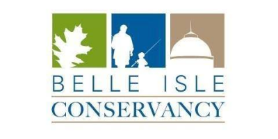 The Belle Isle Conservancy logo, with the name of the organization below a row of three squares; the squares feature silhouettes of: an oak leaf, an adult and child with fishing poles, and the dome of the Anna Scripps Whitcomb Conservatory
